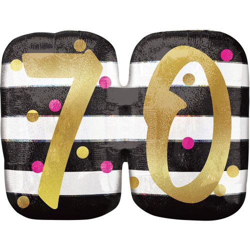 Pink & Gold 70th Birthday Holographic SuperShape